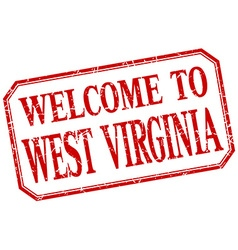 West Virginia - welcome red vintage isolated label vector