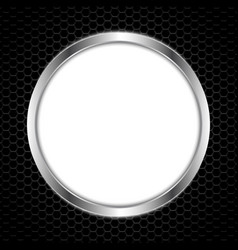 white circle board with abstract metal texture vector image