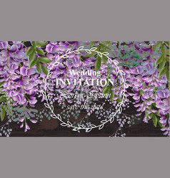 wisteria flowers wedding invitation card vector image