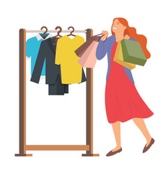woman is choosing outfit to wear young girl picks vector image
