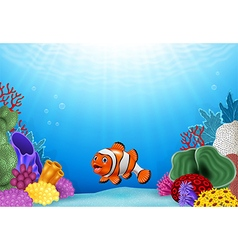 Cute clown fish with Coral Reef Underwater vector image