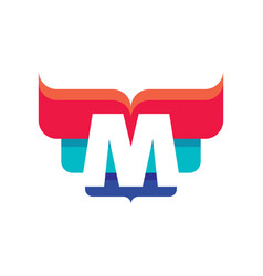 m letter business logo template vector image vector image