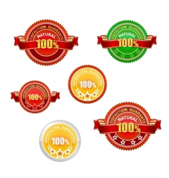 nature and quality emblems set isolated vector image