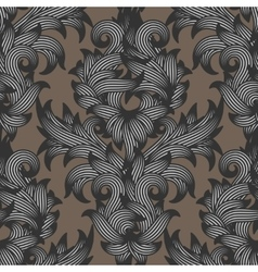 Seamless damask floral pattern vector image