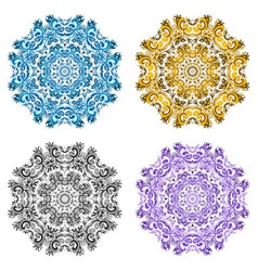 set from four round ornament vector image