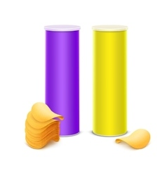 Set of Yellow Purple Tube with Chips vector image vector image