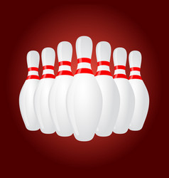 3d realistic skittles for bowling sport vector