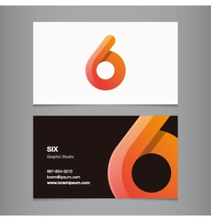 business card number 6 vector image vector image