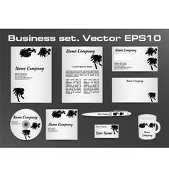 Business set black and white inkblot logotype vector image