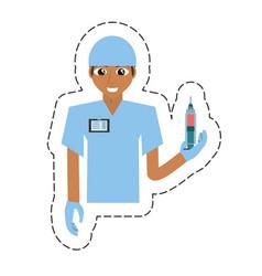 cartoon nurse male suit gloves and syringe vector image