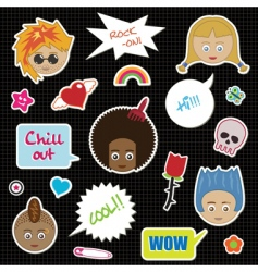 kids stickers vector image vector image