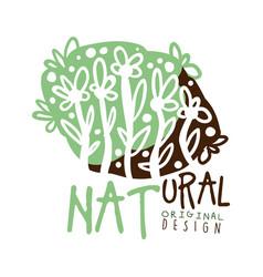 natural label original design logo graphic vector image vector image