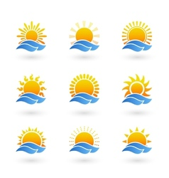 Sunrise or sunset icons vector image
