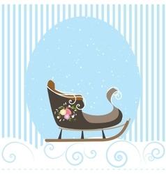 Christmas Card Blue Beautiful Old Sled Snowflake vector image