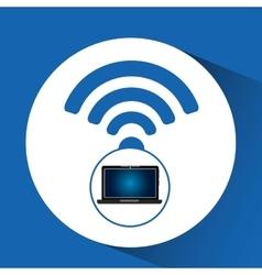laptop blue display internet social media vector image
