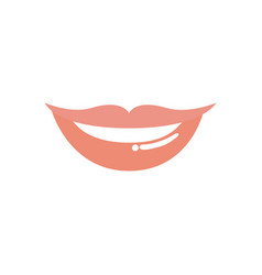 Light colors of silhouette of red lips smiling vector