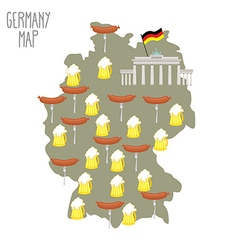 Map of Germany Beer and sausages Attraction Berlin vector image vector image