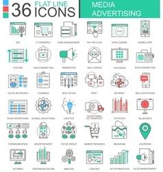 Media advertising modern color flat line vector image vector image