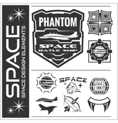 Set of space astronaut badges emblems labels and vector image