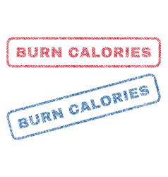 Burn calories textile stamps vector
