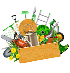 gardening concept with wooden plank vector image