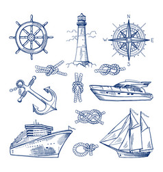 marine doodles set with ships boats and nautical vector image vector image