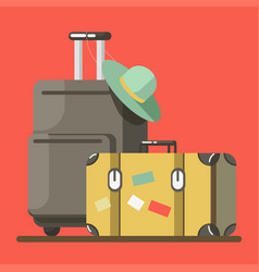 suitcase on wheels with hat and old fashioned vector image