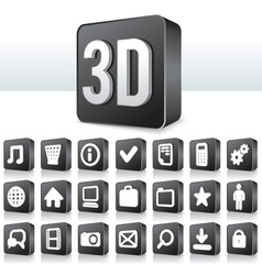3d apps icon technology pictogram on square button vector