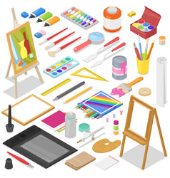 artist tools watercolor with paintbrushes vector image
