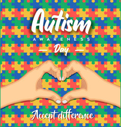 Autism awareness day heart shape hand puzzle card vector