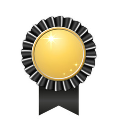 award ribbon gold icon golden black medal design vector image