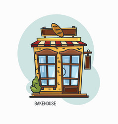 bakery shop building or bakehouse outdoor view vector image