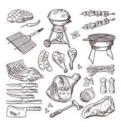 Bbq hand drawn set grilled vector