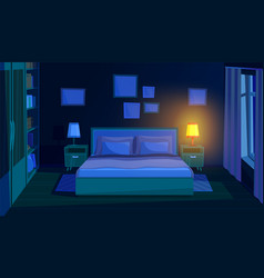 bedroom at night evening bed room interior vector image