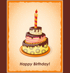 birthday card with cake tier candle and text vector image