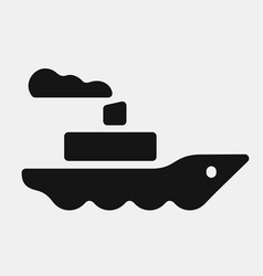 Black color steamship icon vector