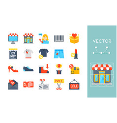 Black friday related flat icon set vector