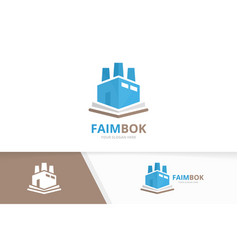 book and factory logo combination industry vector image