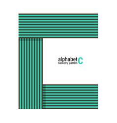 C - unique alphabet design with basketry pattern vector