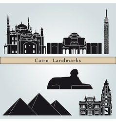 Cairo landmarks and monuments vector