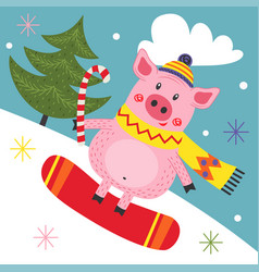 card with pig on snowboard vector image
