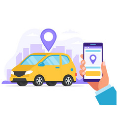 carsharing concept car rental service via mobile vector image