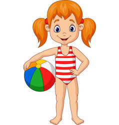 cartoon happy girl holding a beach ball vector image