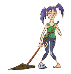Cartoon image of undead monster lady cleaning vector