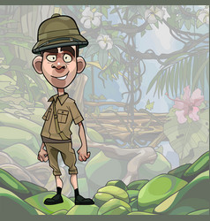 Cartoon male traveller stands on jungle background vector