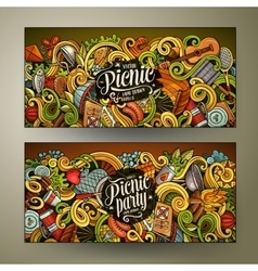 Cartoon picnic doodle vertical banners vector image