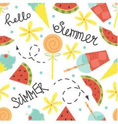 cartoon seamless pattern summer background vector image