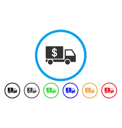 cash delivery car rounded icon vector image