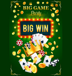 Casino invitation poster for gambling game party vector