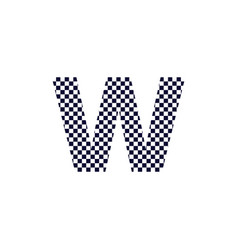 checker pattern logo letter w vector image